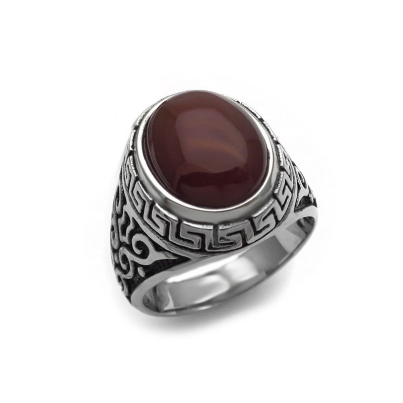 Men's ring with brown stone