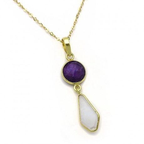 Necklace with amethyst and moonstone from  sterling silver 925 gold plated