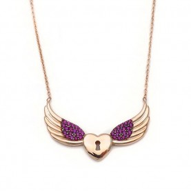 Heart necklace with angel wings from 925 sterling silver rose gold plated