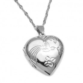 Pendant that opens for photo silver