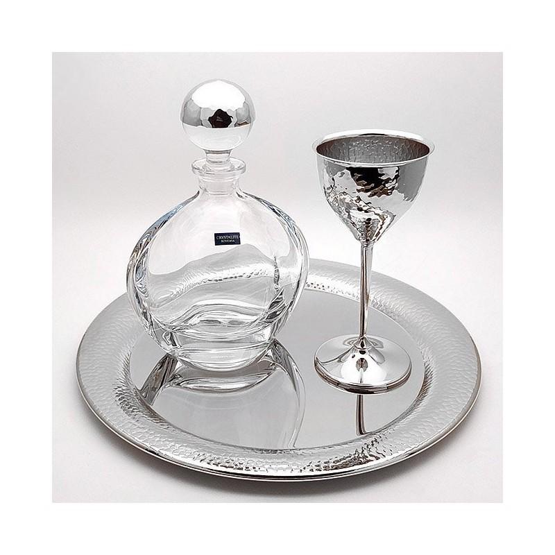 Ποτήρι καράφα κρυσταλλινα και δίσκος γάμου ασημί