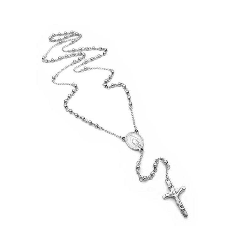 Ροζάριο ανδρικό με σταυρό από ατσάλι ασημί