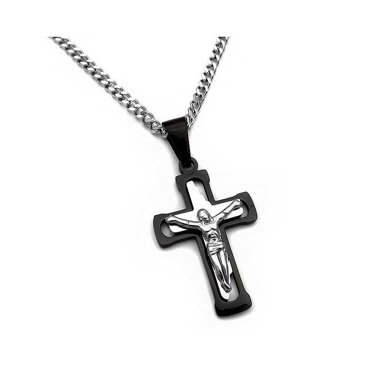 Men's cross and chain from stainless steel two colors