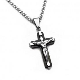 Ανδρικός σταυρος από ατσάλι με μαύρο σχέδιο και αλυσίδα