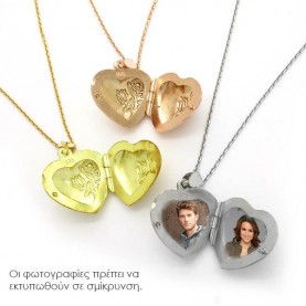 Heart for photos with engraving from silver rose gold