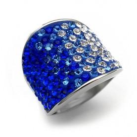 Δαχτυλίδι από ατσάλι με χρωματιστά blue Strass