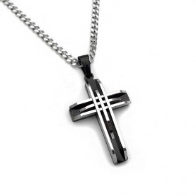 Amazing men's cross with two-tone steel