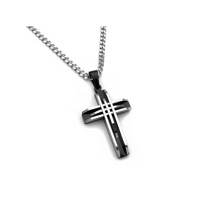 Απίθανος ανδρικός σταυρός δίχρωμος από ατσάλι