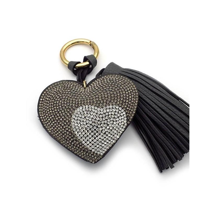 Μπρελοκ για κλειδιά γυναικείο με καρδιά γκρι ασημι