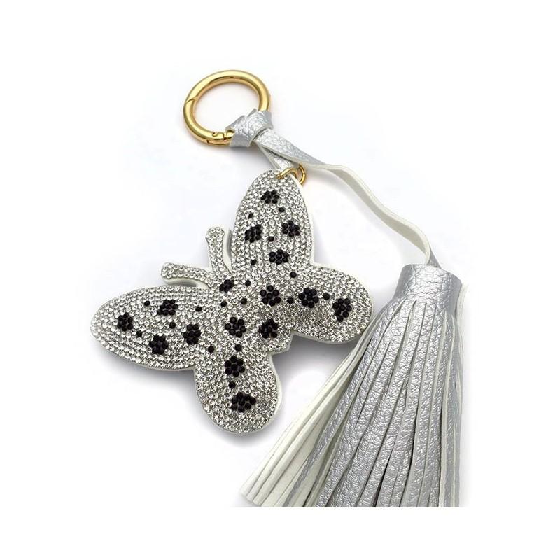 Μπρελοκ για κλειδιά γυναικείο πεταλούδα γκρι ασημί