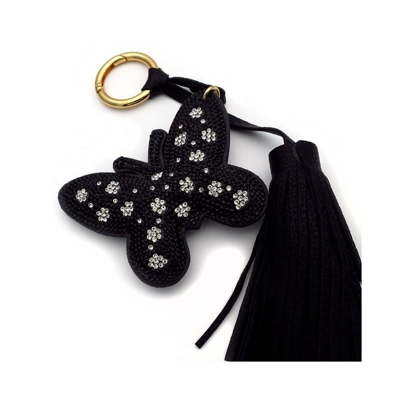Keychain with black butterfly