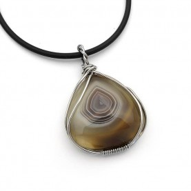 Necklace with Agate Botswana and cord