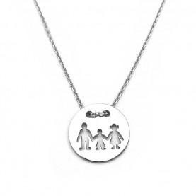 Κολιέ οικογένεια με ένα αγόρι από ασήμι