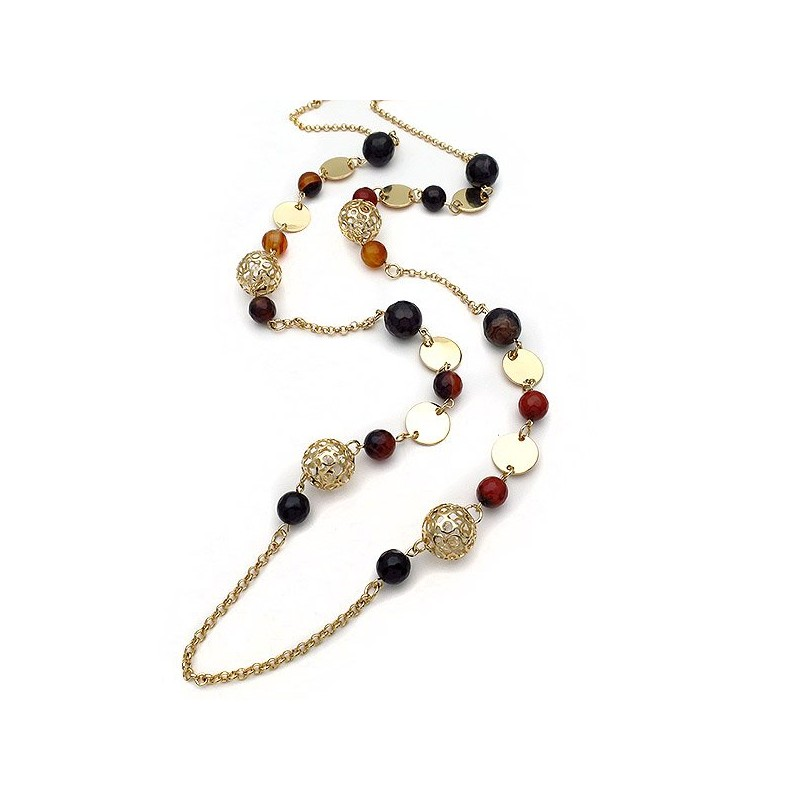 Necklace long in brown black