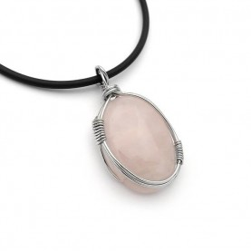 Lovely necklace with Rose Quartz and cord