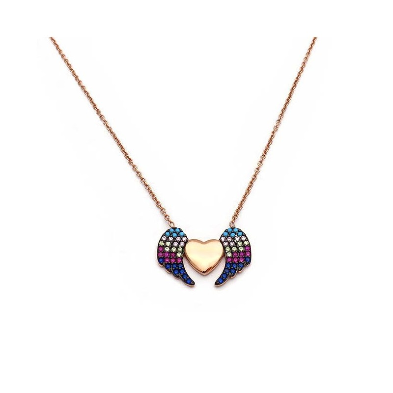 Heart necklace with wings