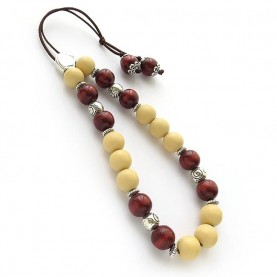 Komboloi with wood beads two colors