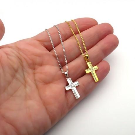 Γυναικείος σταυρός από Ασήμι 925 επίχρυσο με πέτρες