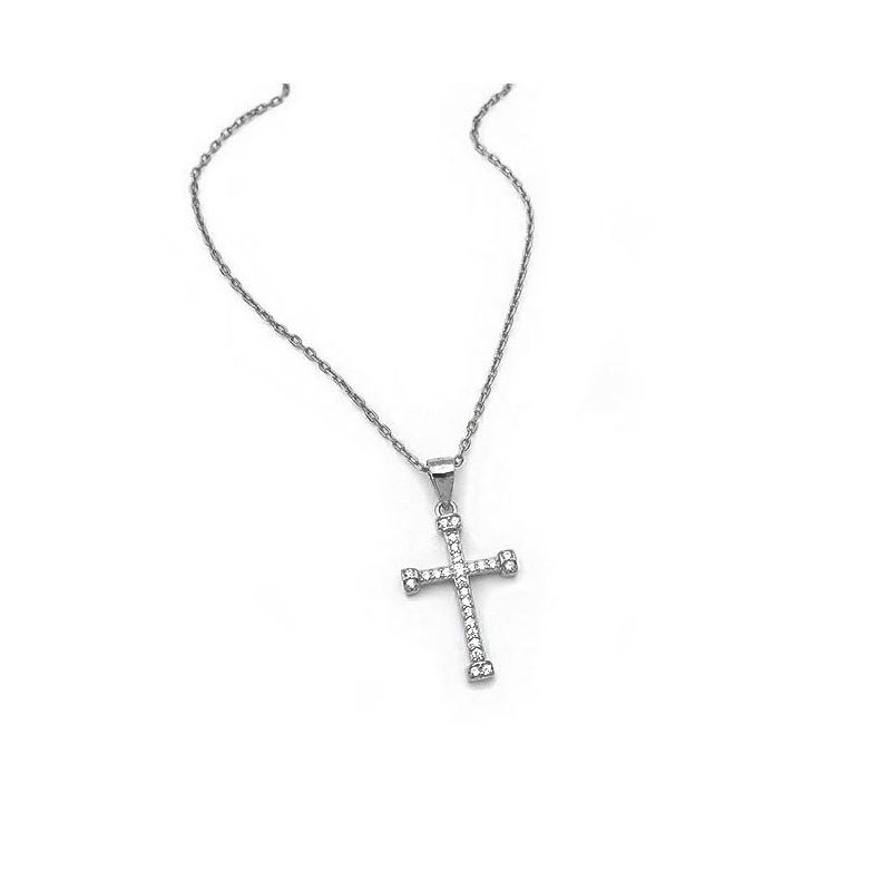 Γυναικείος σταυρός από Ασήμι 925 με πέτρες SG110
