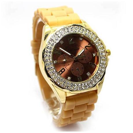 Ρολόι με Μπεζ λουρι καουτσουκ