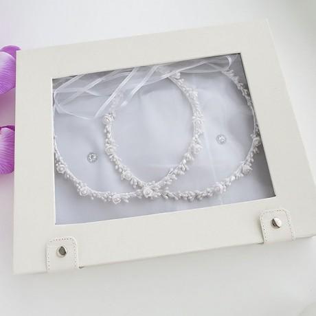Πορσελάνινα Στέφανα Γάμου με λουλουδάκια πέρλες