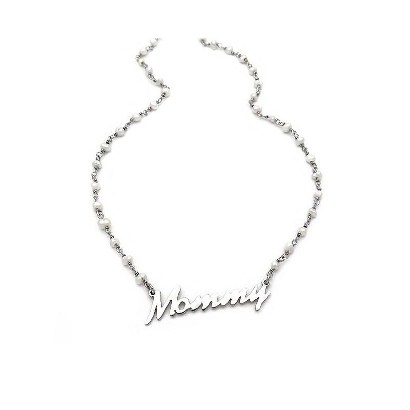 Mommy necklace with rozary pearls