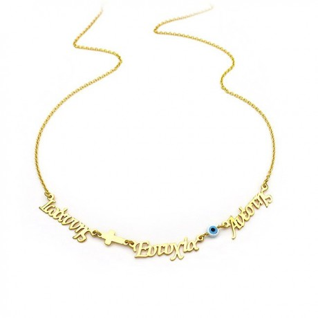 Necklace with three names from sterling silver gold plated