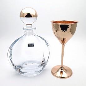 Καράφα και ποτήρι γάμου rose gold