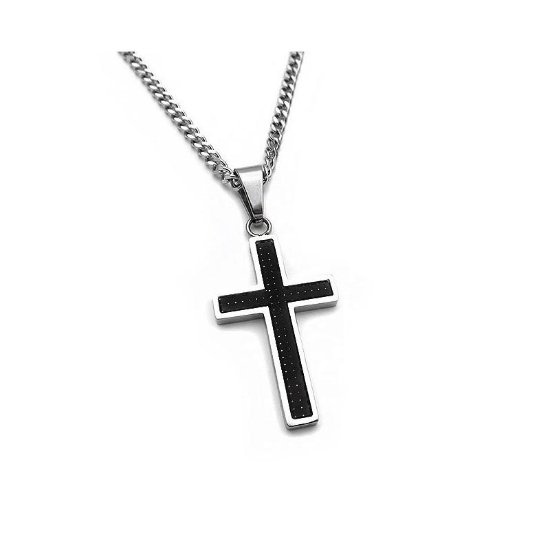 Ανδρικός Σταυρός από Ατσάλι με αλυσίδα
