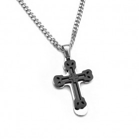 Men's cross with black design and chain SA245