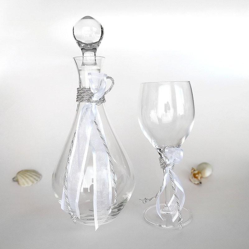 Ποτήρι και καράφα κρασιού για γάμο κρυστάλλινα