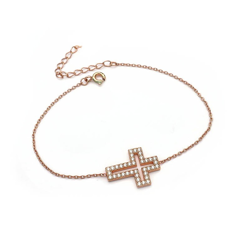 Βραχιόλι με σταυρό από Ασήμι 925 Ροζ Επιχρυσωμένο