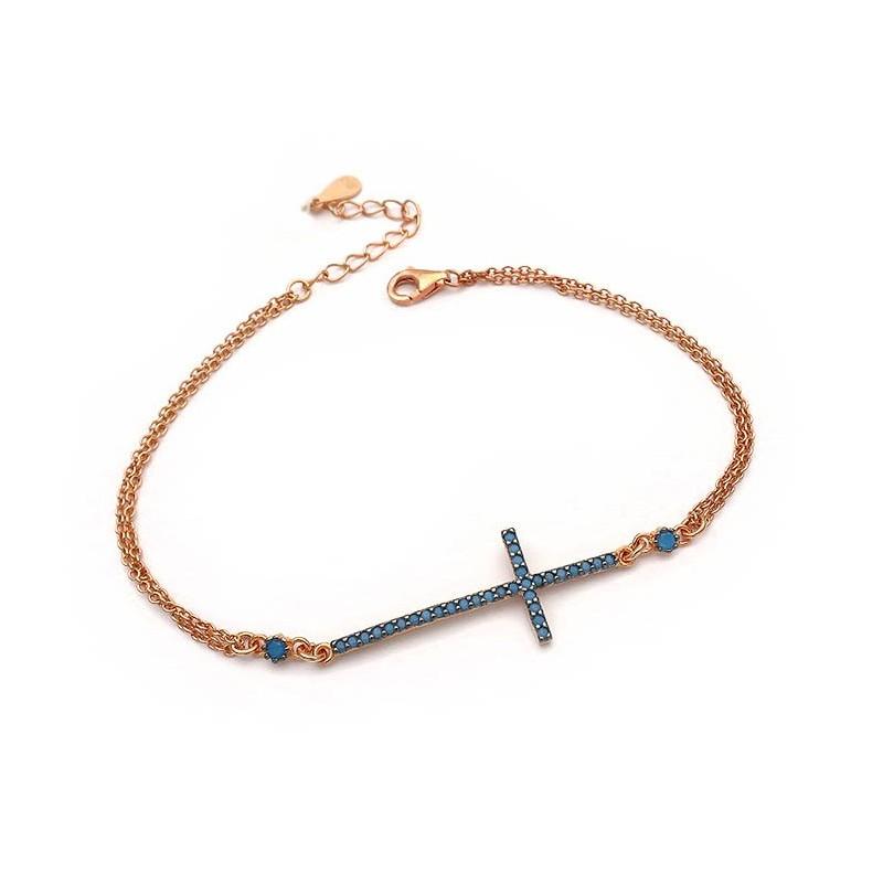Βραχιόλι γυναικείο με σταυρό από Ασήμι 925 ροζ χρυσό