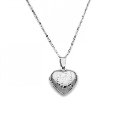 Καρδιά για φωτογραφία με σχέδιο μικρή ασημένια