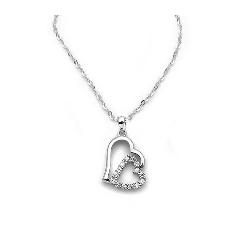Μοντέρνα λαμπερή Καρδιά με πέτρες ασημένια