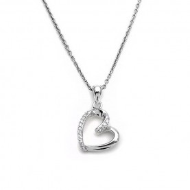 Πανέμορφη καρδιά ασημένια με αλυσίδα