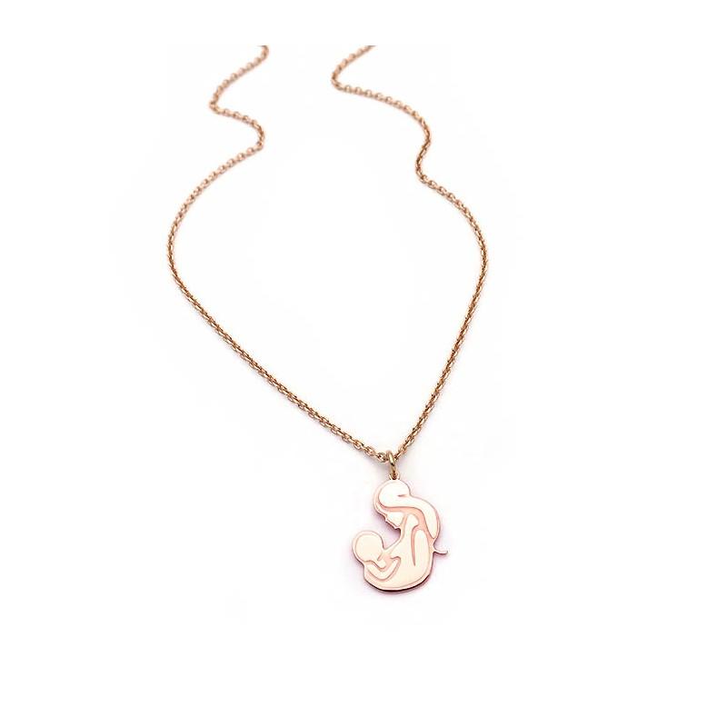 Κολιέ μαμά με μωρό ασημένιο σε ροζ χρυσό