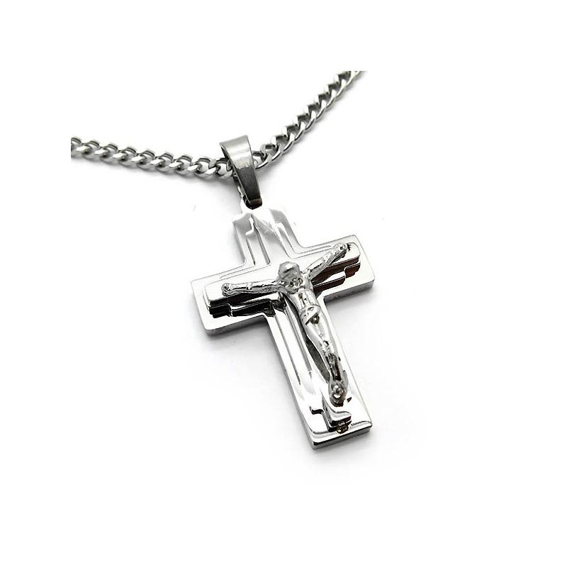 Ανδρικός Σταυρός με αλυσίδα από ατσάλι Stainless steel