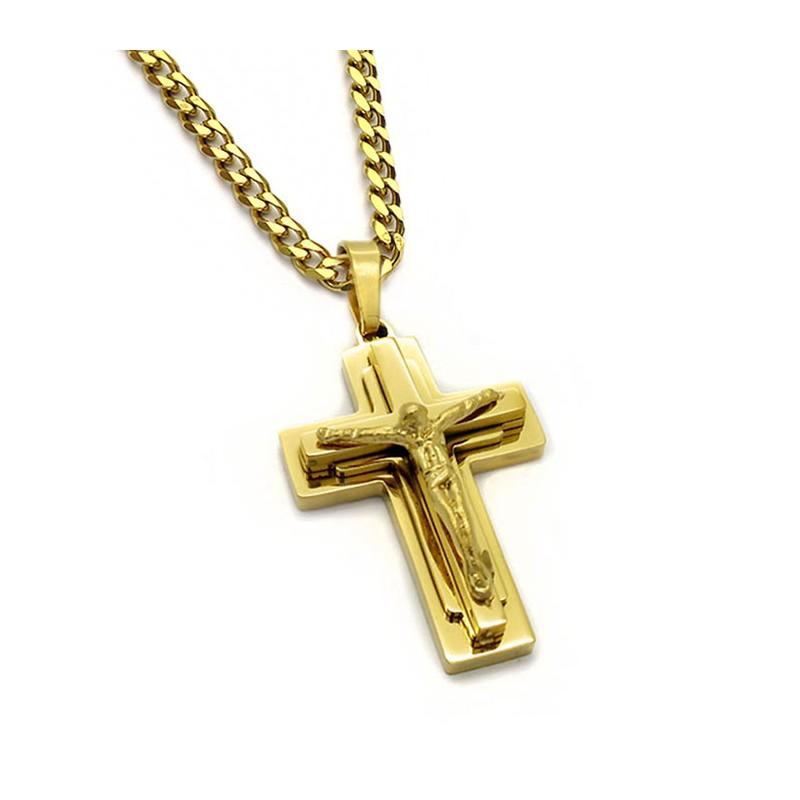 Μοντέρνος Ανδρικός Σταυρός από ατσάλι με αλυσίδα