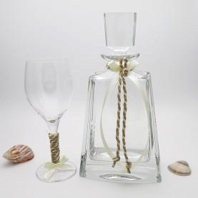 Ποτήρι και καράφα γάμου κρυστάλλινα Βοημίας